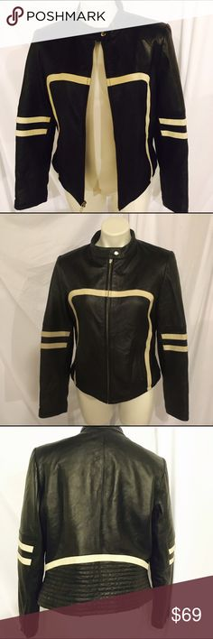 Wilsons Leather Maxima Racer Jacket Great condition with no peeling or holes. Made by Wilsons Leather and is REAL leather. Sleeves have zippers (as pictured) and the jacket has two pockets (one on each hip.) Size Large and I would say it runs a little small. Mannequin is size 4/6. Wilsons Leather Jackets & Coats