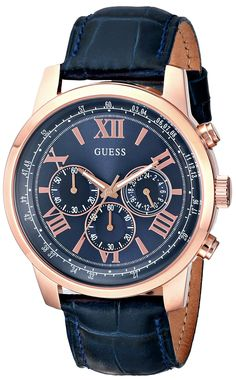 GUESS Men's U0380G5 Iconic Blue Chronograph Watch with Blue Dial, Rose Gold-Tone Case & Genuine Leather Strap