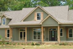 Often overlapping with cottage plans and farmhouse plans, country house plans offer outdoor living, woodsy simplicity, and more. Country Style House Plans, Cottage House Plans, House Floor Plans, Simple House Plans, 4 Bedroom House Plans, Country Style Homes, Farm House, Green Siding, Exterior House Colors