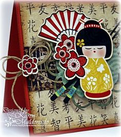 """Samantha Walker's Imaginary World: Kokeshi """"5-step"""" Card Tutorial by Karen Maldonado"""