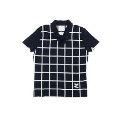 Courrèges knit tshirt, navy and white grid shirt, $15.00