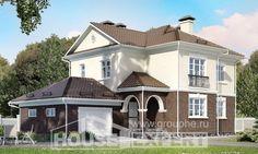 190-002-Л Проект двухэтажного дома и гаражом, современный дом из блока