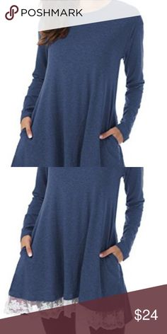 Lace Long Sleeve Tunic Top Navy Blue 2X Cotton 95% Cotton 5% Spandex Women clothes long sleeve tops, Scoop Neck, Above Knee Length, Flowy hem with lace in the front (so cute), no see through Loose blouses, women's fashions clothing tops, ladies tunic top, Teen girl and junior clothing shirts.You can pair it with leggings and boots it'll look casual, Or pair it with vintage jeans, it'll look very classic. the tops tunic perfect for daily, going out, party, work, tourism etc…