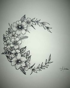 Tattoo moon flower Tatuagem lua flores