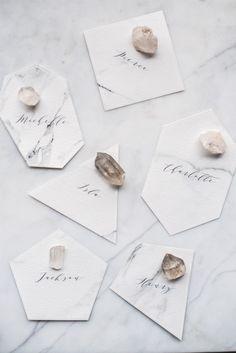 escort cards - marbled wedding ideas
