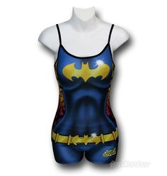 Our Batgirl Juniors Costume Cami & Boyshorts Set brings the design of Batgirl's costume to an adjustable-shoulder-strap top with boy shorts-style bottoms! In addition to the image of bats taking flight behind her costume, the print on this set uses shading to suggest Babs' taut physique. And while it would no doubt be...freeing...to clean up the mean streets of Gotham in an outfit like this,  $27.99