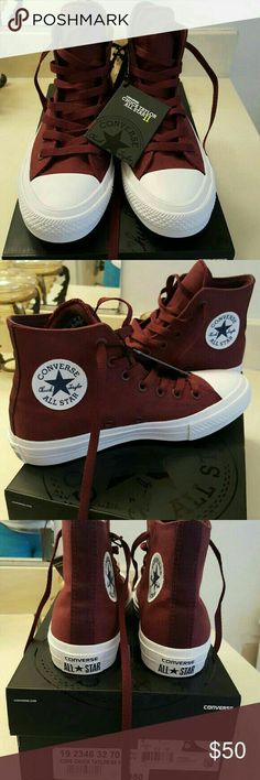 e53a4e30e84  NEW  Converse Shoes  NEW  Converse Chuck Taylor All Star II high tops in  burgandy. These shoes are better quality than the usual Chucks with more  padding ...