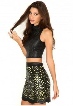 2014 new street fashion fluorescent hollow pu leather skirt hip packed Yella Laser Cut Fluoro Leather Skirt