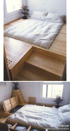 schlafzimmer ideen bett bettenarte eingebaut podest holz treppen ...