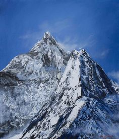 Himalayas by Nino Ponditerra Mountain Paintings, Mount Rainier, Mother Nature, Mount Everest, Earth, Oil Paintings, Nepal, Gallery, Artwork