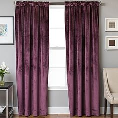 Add a timeless touch of beauty to any room with the Velvet Rod Pocket/Back Tab Lined Window Curtain Panel. Soft and luxurious this attractive panel is lined to add volume, excellent drapability and additional privacy to your home. Brown Curtains, Panel Bed, Panel Curtains, Living Room Blinds, Drapes Curtains, Curtains, Thick Curtains, Bed Bath And Beyond, Curtain Decor