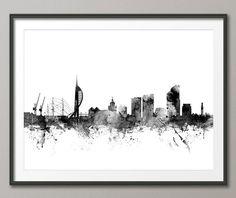 Portsmouth Skyline Portsmouth England Cityscape Art by artPause