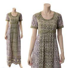 Vintage 70s India Cotton Batik Maxi Dress by CkshopperVintage
