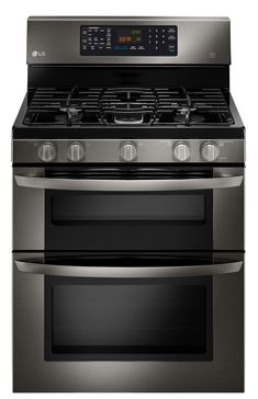 6.1 cu. ft. Capacity Gas Double Oven Range With Easyclean® (Black Stainless Steel Series)  Dinner will be perfectly polished, just like the oven it was cooked in. With EvenJetTM Convection on the inside, and a satin-smooth finish on the outside, depth of flavor meets depth of color in Our Black Stainless Steel Series Gas Double Oven Range.
