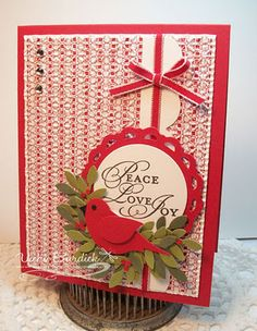 Christmas Card using bird punch and pennant die