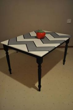 Beautifully designed black, white, and grey chevron kitchen table with black trim and legs. This piece will add character to any kitchen or dining room and the monochromatic color scheme makes any center piece POP! Chevron Kitchen, Pulp Riot Hair Color, Monochromatic Color Scheme, Black White, Black Trim, Grey Chevron, Ping Pong Table, Summer Crafts, Home Projects