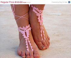 PROMO SALE Barefoot sandals, Pink crochet sandals. barefoot sandles, crochet barefoot sandals, jewelry for the foot