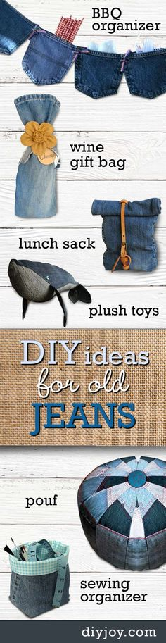 DIY ideas for old jeans - Upcycling Projects with Denim | Cute Crafts and Creative Home Decor by DIY JOY