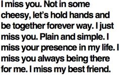 Plain and simple. I miss your presence in my life. I miss you always being there for me. I miss my best friend.