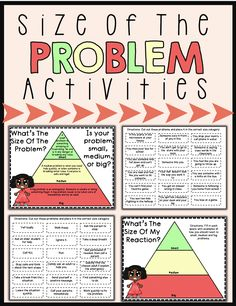 Size Of The Problem Activities Problem solving activities to help students identify the size of a problem. Students will also consider how big the reaction should be to a certain problem. A good addition to zones of regulation lessons! Social Skills Lessons, Social Skills Activities, Teaching Social Skills, Counseling Activities, Social Emotional Learning, Coping Skills, Articulation Activities, Group Counseling, Social Anxiety
