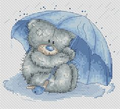 Tatty Teddy with Umbrella Cross Stitch