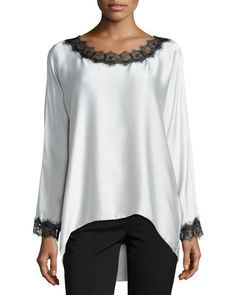 Long-Sleeve Silk Tunic W/ Lace Trim, Women\'s by Go Silk at Neiman Marcus.