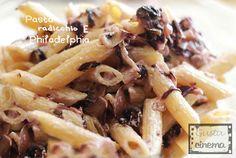 Pasta radicchio e philadelphia, un primo piatto molto gustoso, leggero ed equilibrato.