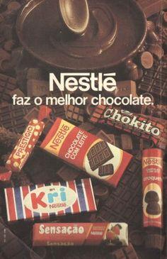 Chocolates Nestlé (1980). Saudosos Kri e Sensação! Prestígio e Chokito ainda resistem nas prateleiras dos supermercados, mas…. Croquete Nestlé? Que produto era esse? Alguém se lembra dele?