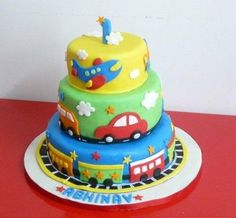 Nice colorful Fondant Cake for Boy . Little Boy Cakes, Baby Boy Cakes, Cakes For Boys, Pretty Cakes, Cute Cakes, Rodjendanske Torte, Transportation Birthday, Baby Birthday Cakes, 2nd Birthday
