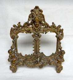 Vintage Brass Cherub Ornate Double Picture by Tinkerintheattic