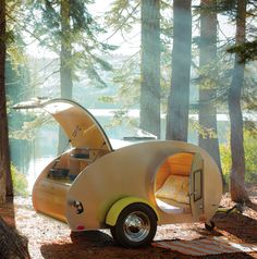 the teardrop trailer.  i can't imagine camping in anything other than a 2 person tent.  BUT, if i did, it would definitely be in this...