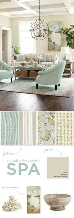 Spa color palette in a coastal, sea-side inspired theme