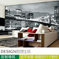 For living room bedroom wallpaper tv personalized wallpaper City night scene black-and-white mural wallpaper wallpaper Modern