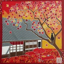 "Japanese Fabric Furoshiki Tapestry 'Tama the cat' Autumn Maple 19.69""/50cm"