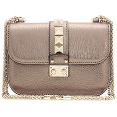 Valentino Lock Small Leather Shoulder Bag (115.630 RUB) ❤ liked on Polyvore featuring bags, handbags, shoulder bags, bagss, bolsos, metallic, kiss-lock handbags, metallic purse, brown handbags and genuine leather handbags