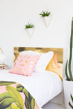 DIY diy faux brass headboard on Sugar & Cloth