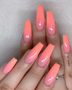 53 Chic Natural Gel Nails Design Ideas For Coffin Nails – - Summer Acrylic Nails Coffin Nails Long, Long Nails, Pink Gel, Coral Ombre Nails, Peach Nails, Bright Summer Nails, Spring Nails, Nail Summer, Natural Gel Nails