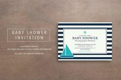 Nautical Baby Shower Invitation by meredith.mcgee on @creativemarket