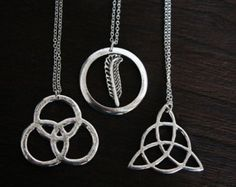 Silver Led Zeppelin three Symbols Pendant necklace