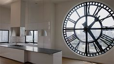 Two of my all-time most favorite things EVER: ginormous clocks and great big windows!