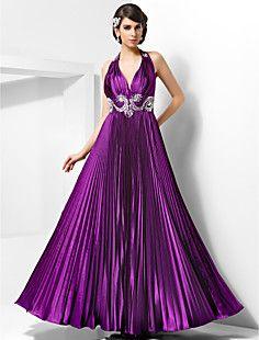 A-line Halter Floor-length Stretch Satin Evening Dress – EUR € 164.99