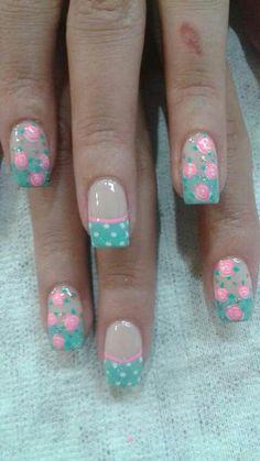 Loving the poke dots with roses Fingernail Designs, Nail Art Designs, Spring Nail Art, Pretty Nail Art, Flower Nail Art, Stylish Nails, Fabulous Nails, Nail Art Diy, Creative Nails
