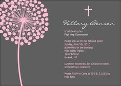 Simple Blossom First Communion or Baptism Invitation - Custom Colors - Printable