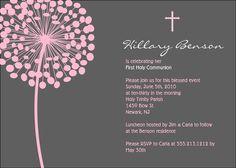 Simple Blossom First Communion or Baptism Invitation - Custom Colors - Printable