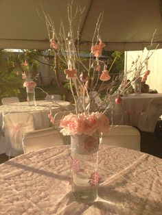 Pink centerpieces for winter wonderland baby shower