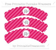 Free Ruby Pink Diagonal Striped  Baby Elephant Scalloped Cupcake Wrappers