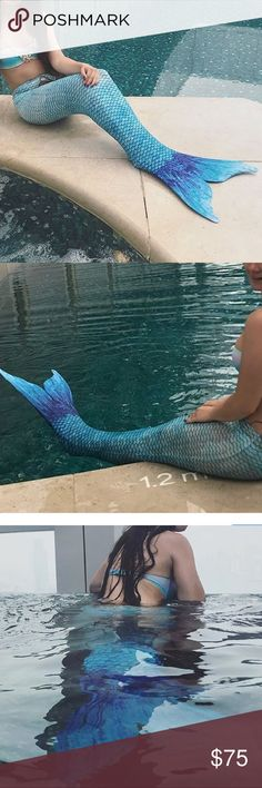 •MAKE OFFER• GORGEOUS CUSTOM MADE MERMAID TAIL •MAKE OFFER• GORGEOUS CUSTOM MADE MERMAID SWIM TAIL TAIL MEANT FOR KIDS SIZES XL IM A WOMENS SIZS XS/S AND AS YOU CAN SEE IT FITS PERFECTLY AND LOOKS AMAZING (Super stretchy spandex material) Brand tag inside removed because it got in the way! IT DOES NOT COME WITH THE MONOFIN IN ORDER TO SWIM WITH IT YOU CAN BUY IT ON AMAZON FOR $10 The swimsuit worn in the first photos and the jewelry is listed in my other listings to purchase  Worn 1x for a…
