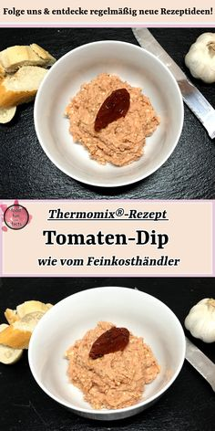 Tomato dip - as from the delicatessen- Tomaten-Dip – wie vom Feinkosthändler in a cozy evening with friends at a party, as … - Dip Recipes, Baby Food Recipes, Sauces, Good Food, Yummy Food, Snacks Für Party, Le Diner, Easy Healthy Breakfast, Canned Pumpkin