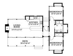 Houseplans.com Cottage Main Floor Plan Plan #426-16. 826sf. Raise ceiling ht to 9'.