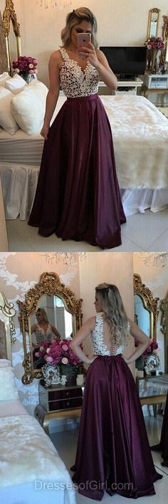 Dark Purple Prom Dresses, Open Back Prom Dress, Long Evening Dresses, Satin Party Dresses, V Neck Formal Dresses